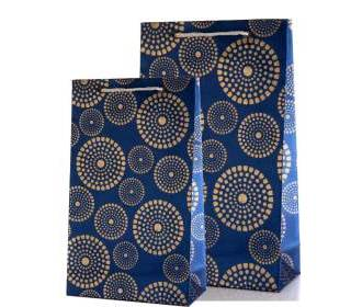 Royal Blue Gift Bags Combo with Golden Circles Design