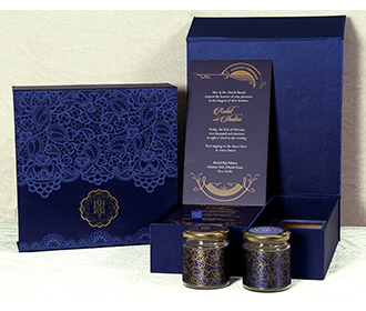 Royal blue Sikh wedding box invitation with floral patterns & sweet jars -
