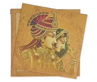 Royal couple themed Indian wedding invite in light orange colour