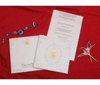 Royal cream wedding invite