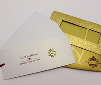 Royal golden wedding card with Ganesha & pull out inserts