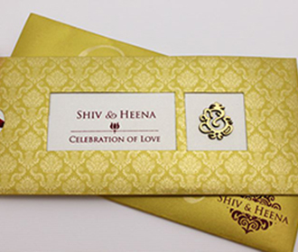 Royal golden wedding card with Ganesha & pull out inserts -