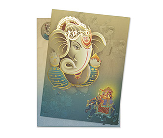 Royal Hindu wedding card in shades of Blue and Beige