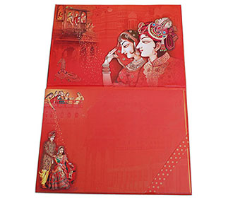 Royal Indian Invitation card with images of wedding ceremonies