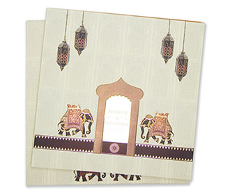 Royal Indian wedding card in beige and brown color