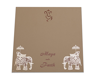 Royal Indian wedding card in olive color with modern design