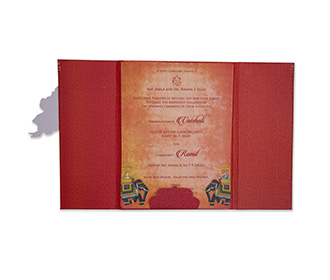 Royal Indian wedding card in red with a carry bag envelope
