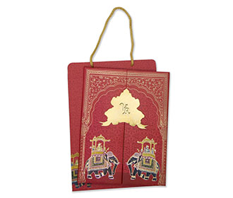 Royal Indian wedding card in red with a carry bag envelope -