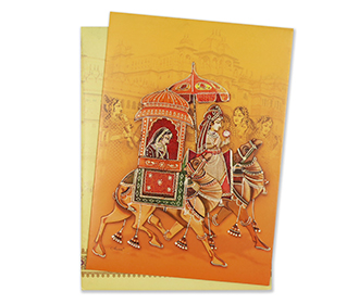 Royal indian wedding invitation card in vibrant colours