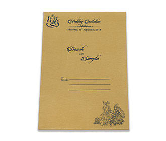 Royal Indian wedding invitation in blue satin and Ganesha symbol