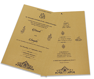 Royal Indian wedding invitation in blue satin and Ganesha symbol