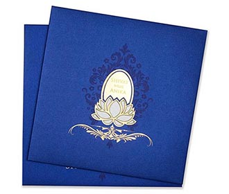 Royal Indian wedding invitation in blue with minimal design -