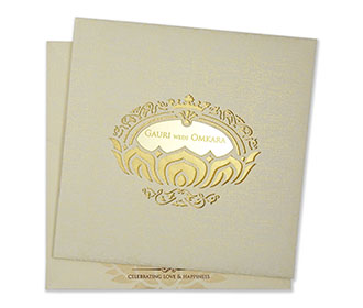 Royal indian wedding invitation in parchment colour
