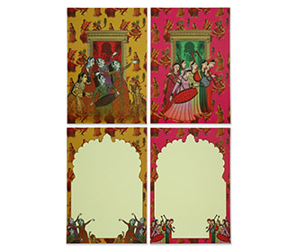 Royal indian wedding invitation in pink & orange