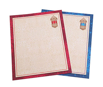 Royal Indian wedding invitation with beautiful ethnic lamps