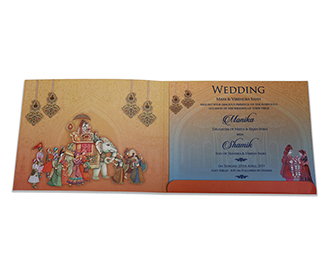 Royal Indian wedding invite in beautiful multicolour combination