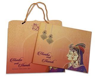 Royal Indian wedding invite in beautiful multicolour combination -