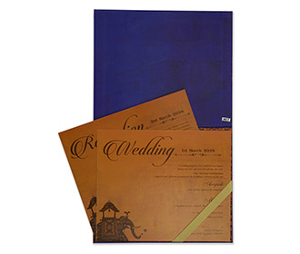 Royal Indian wedding invite in blue and pink colour