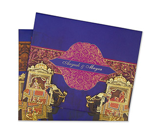 Royal Indian wedding invite in blue and pink colour -