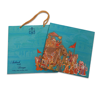 Royal indian wedding invite in blue with images of wedding rituals -