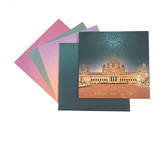 Royal palace theme wedding invite with gradient color inserts