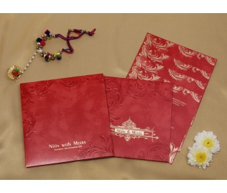 Royal red colored wedding invite