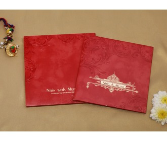Royal red colored wedding invite -