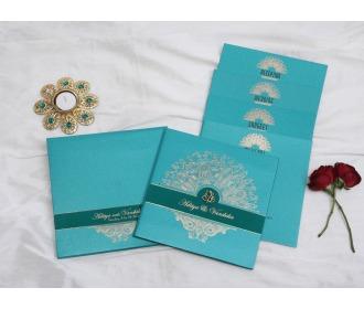 Royal Turquoise blue Ganesha wedding invite