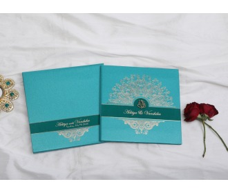 Royal Turquoise blue Ganesha wedding invite -