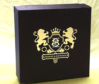 Royal wedding box invite in brown with designer inserts & sweet jars