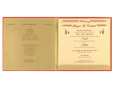 Royal Wedding Cards in Red and Antique Olive Golden Satin Colour