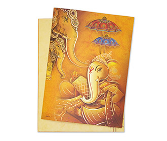 Royal wedding Invitation with Ganesha and elephant images