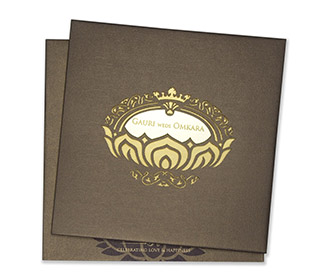 Royal wedding invite in brown with minimalistic design -