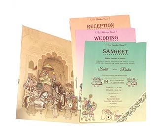 Royal wedding invite with bride, groom and wedding processions