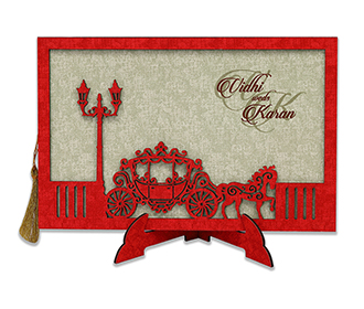Royal wedding invite with english style lamps and chariot with horses in Red -