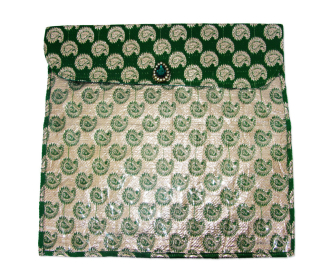 Saree bag in Green Brocade with Paisley design -