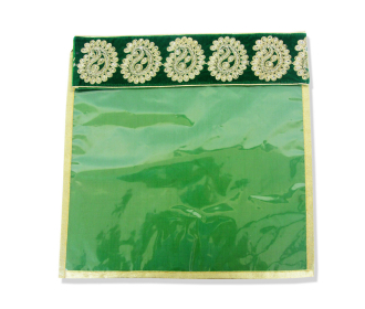 Saree bag in Green with Embroidered Velvet Flap -