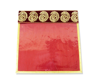 Saree bag in Maroon with Embroidered Velvet Flap -