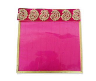 Saree bag in Pink with Embroidered Velvet Flap