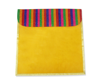 Saree bag in Yellow with a multicolor flap -