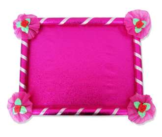 Saree Tray in Pink with decorative floral ribbons