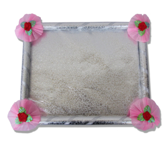 Saree Tray in Silver with decorative floral ribbons