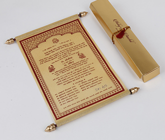 Scroll style wedding card in golden with rectangular box