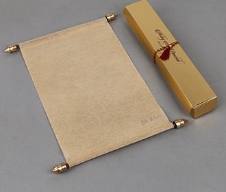 Scroll style wedding card in light orange rectangular box