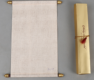 Scroll style wedding card in light orange with rectangular box -