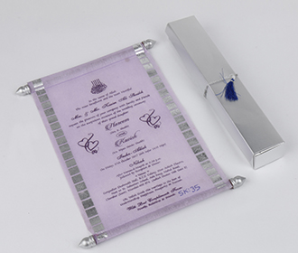 Scroll style wedding card in light purple with rectangular box