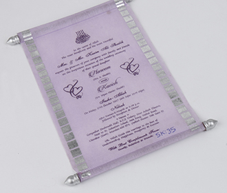 Scroll style wedding card in light purple with rectangular box
