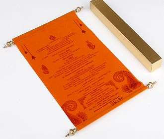 Scroll style wedding card in orange velvet finish with square box -