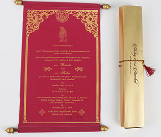 Scroll style wedding card in pink velvet finish with rectangular box -