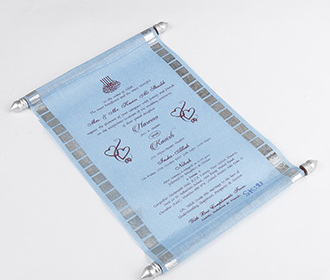 Scroll style wedding card in powder blue with square box